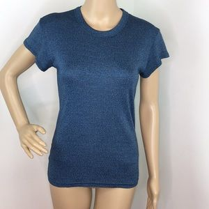 Michael Stars Blue Metallic T-Shirt Blouse